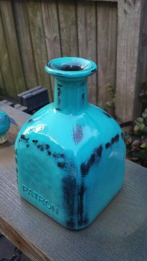 Painted Patron bottle....now what to do with all of them.   Print labels?  Use for infused olive oils? (inside of bottles are clean)  air plants?  Ideas are welcome.........    thinking of opening an Etsy shop