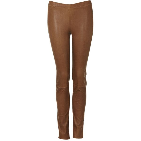 Ines Marechal Leather Leggings Tan ❤ liked on Polyvore featuring ...