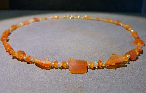 Feueropal Halskette orange gelb Rohsteine von Sparklinginside