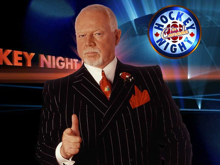 """Don Cherry (1934) born in Kingston, Ontario, is a Canadian ice hockey commentator for CBC Television. Cherry co-hosts the """"Coach's Corner"""" intermission segment (with Ron MacLean) on the long-running Canadian sports program Hockey Night in Canada."""