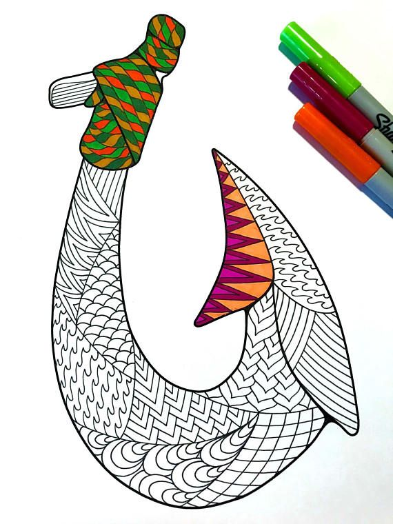Fish Hook - PDF Zentangle Coloring Page (With images ...