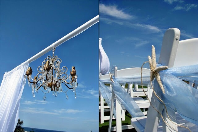 Sea side wedding ceremony with start fish detail style and design decorations by jelena