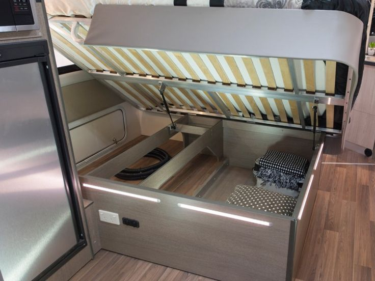 The C7923SL Esperance motorhome has storage under the bed that can be securely accessed from the outside of the vehicle.