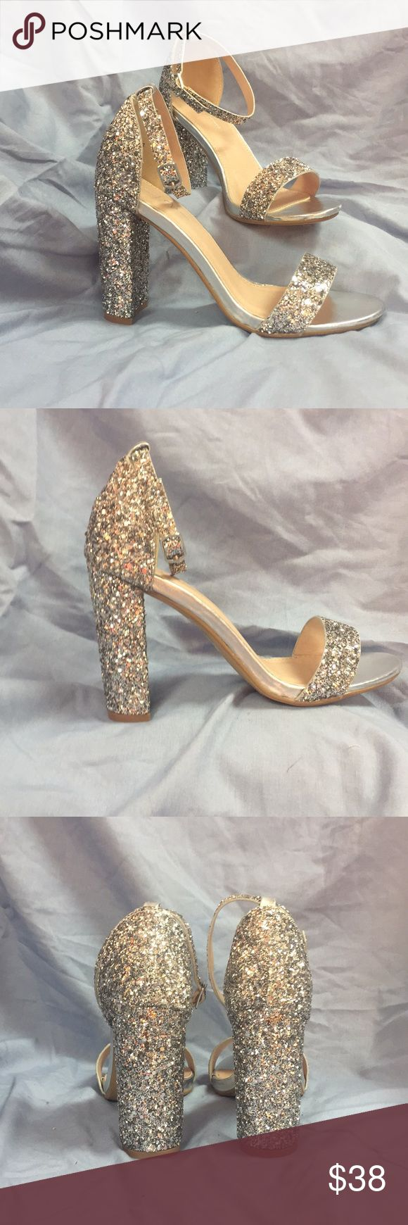 """Silver glitter heels Silver glitter heels with ankle strap 5"""" heel. Perfect for prom or padgent. NEW never worn. Perfect condition. J. Adams Shoes Heels #anklestrapsheelsprom #GlitterHeels"""