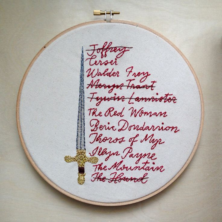 Arya's List, Game of Thrones, Embroidery Designs, Arya Stark, Embroidery Pattern PDF by TypecastLettering on Etsy https://www.etsy.com/listing/273429612/aryas-list-game-of-thrones-embroidery