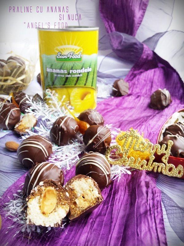 Praline cu ananas, migdale glazurate, nuci și nuca de cocos trase prin ciocolata