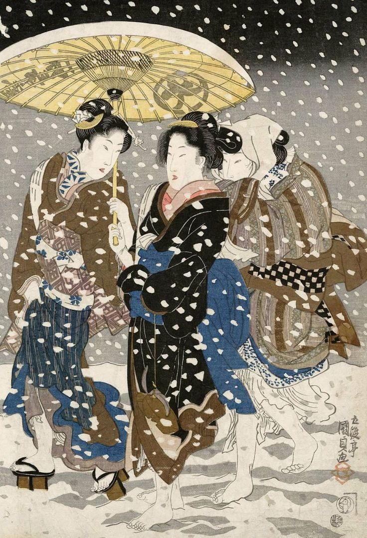 Three women walking in the snow.. Ukiyo-e woodblock print, 1820's, Japan, by artist Utagawa Kunisada I
