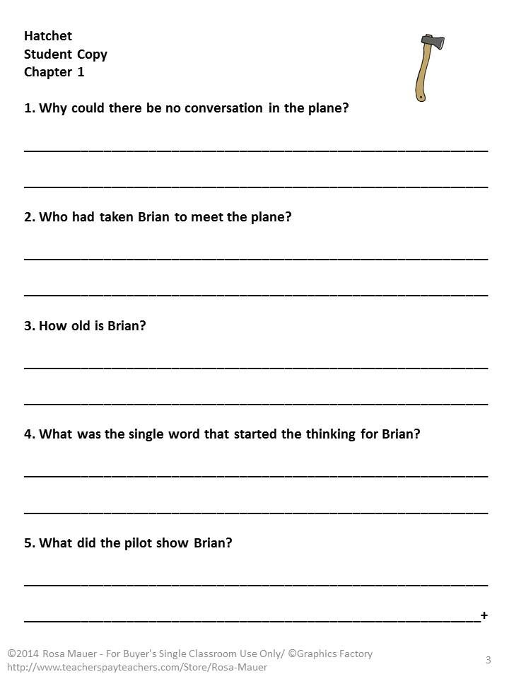 Worksheet Hatchet Worksheets work for students reading comprehension and guided on pinterest