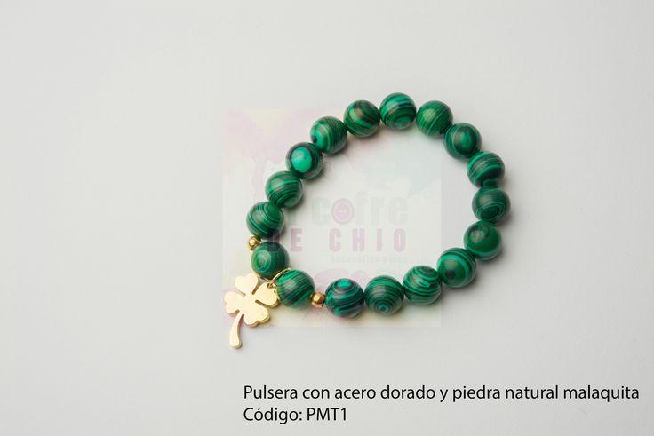 Pulsera con acero dorado y piedra natural malaquita Código: PMT1 #pulsera #acero #piedranatural #peru #malaquita #diadelamadre #elcofredechio