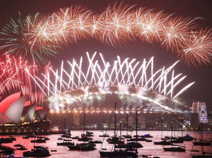 Happy New Year 2020 Crane Plus Celebration around the