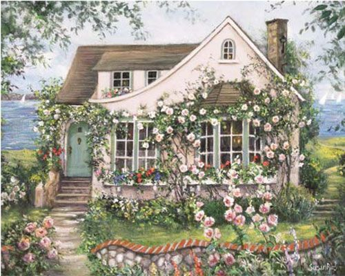 "Lovely Cottage ""Content by the Sea"" by Susan Rios illustration - love Susan Rios!"