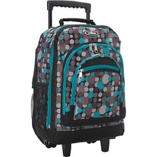 """Rolling Backpack Gray Blue 18"""" Back To School College Travel 17"""" Laptop Handle #Everest"""