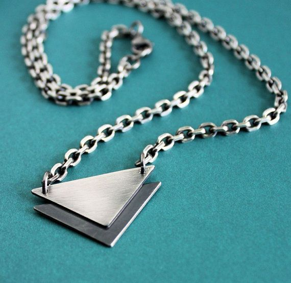 Mens Silver Chain Necklace Stacked Triangles by LynnToddDesigns