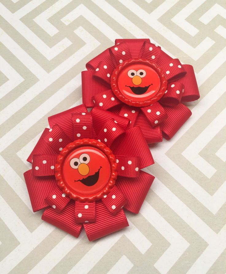 Elmo Pigtail Hair Bow Set || Elmo Hair Bow || Red Hair Bow || Sesame Street Party || Elmo Party || Elmo Costume by LittleBowSwish on Etsy https://www.etsy.com/listing/470020610/elmo-pigtail-hair-bow-set-elmo-hair-bow