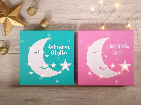 Personalized light sign Moon and star print Light up canvas