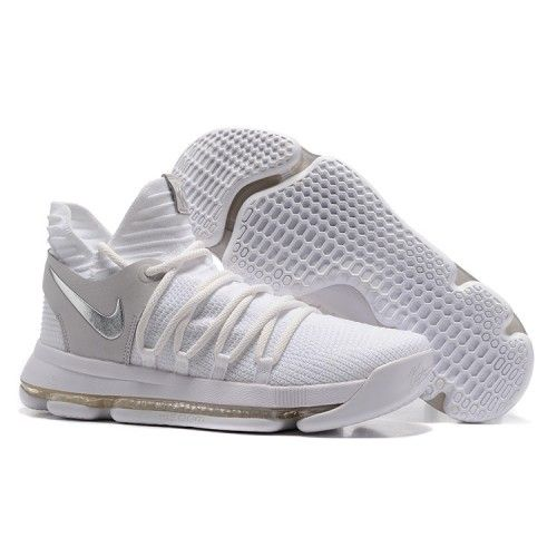 Nike kevin durant kd 10 basketball shoes white silver gray