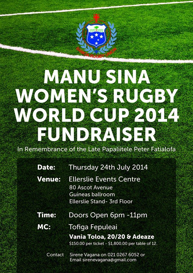 MANUSINA WOMEN'S RUGBY WORLD CUP 2014 FUNDRAISER – In remembrance of the late Papaliitele Peter Fatialofa