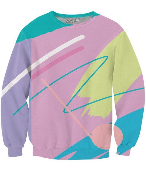 Check out this awesome 80's fueled Fresh Paint Crewneck Sweatshirt design by artist, Yoko Honda! Yoko Honda finds inspiration in deep neon zig-zag, highly-satur