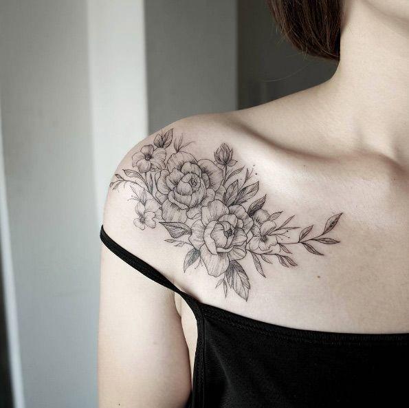 Elegant blackwork floral shoulder piece by Chaehwa