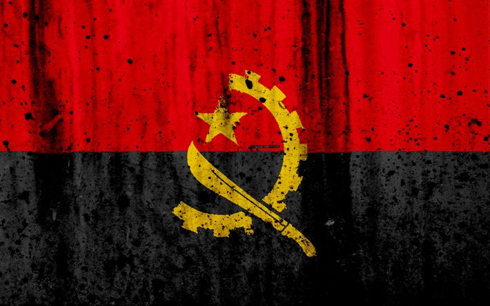 Download wallpapers Angolan flag, 4k, grunge, flag of Angola, Africa, Angola, national symbols, Angola national flag