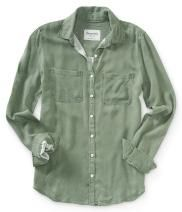 Long Sleeve Solid Twill Button-Front Top - Aéropostale®