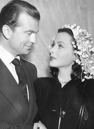 """""""Hedy wore a simple black velvet suit with a plain white silk blouse. They did not immediately honeymoon as Hedy was in the middle of filming The Heavenly Body and just took the day off for her wedding."""" - Hedy Lamarr: The Most Beautiful Woman In..."""