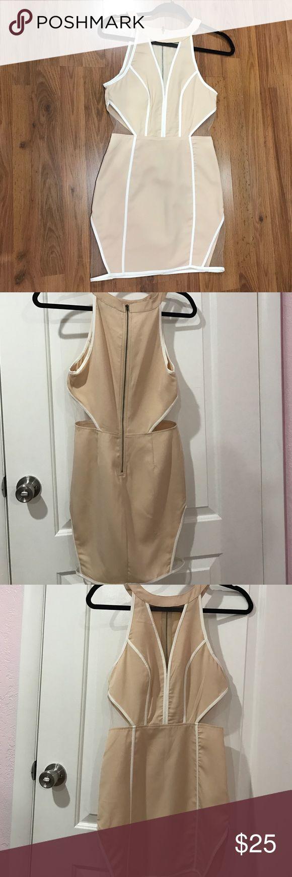 Beige mini dress Beige dress with mesh cutouts, brand new never worn! Dresses Mini