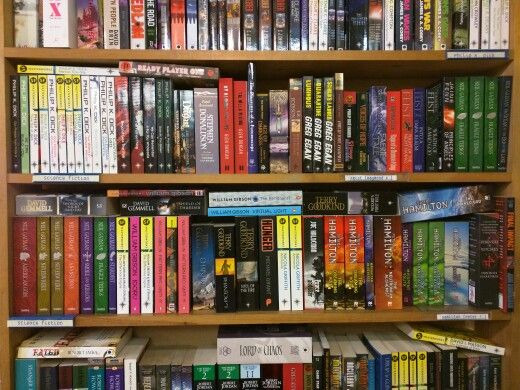 Shelves of science fiction books for sale at Old Street station bookshop.