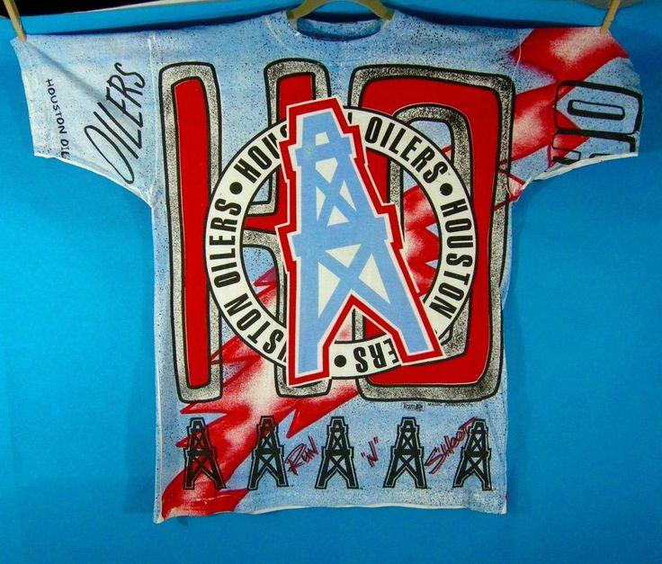 Vintage Oilers Houston NFL Football Team NFL T-Shirt Magic Johnson T's Large  #MagicJohnsonTs #GraphicTee
