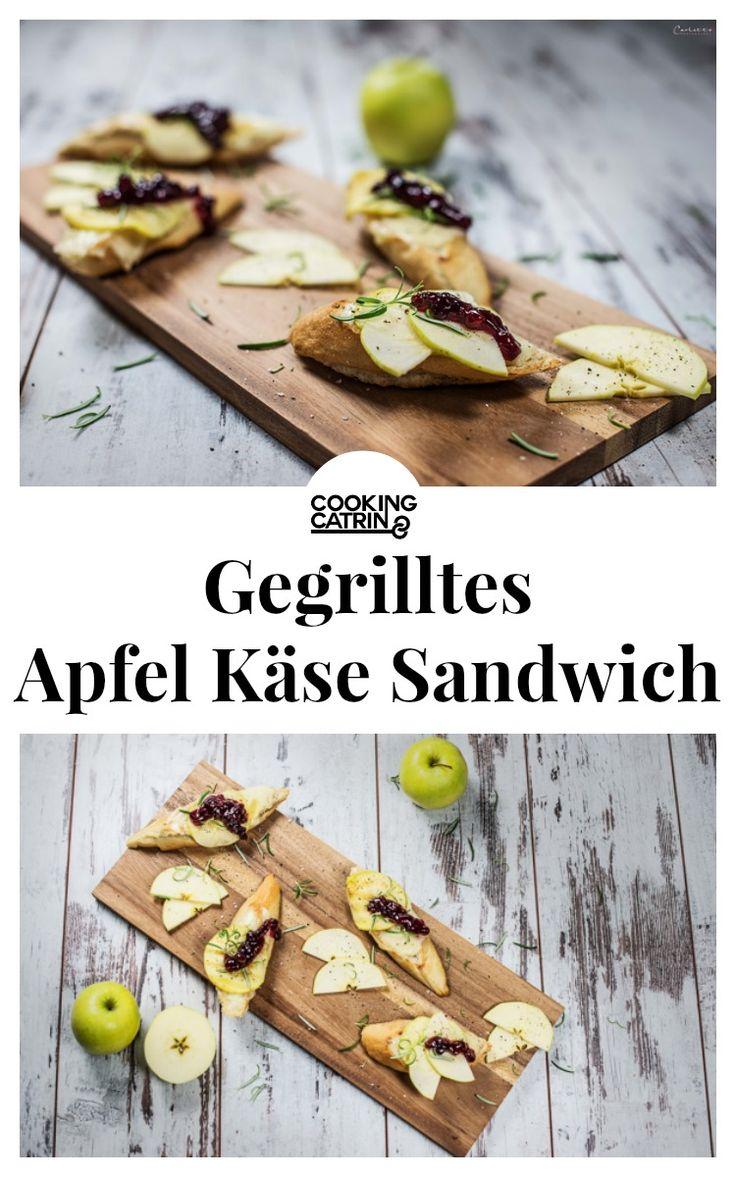 Rezept für gegrillte Käsesandwiches. Abendessen, vegetarische Sandwiches, Käserezept, Äpfel, Preiselbeeren.