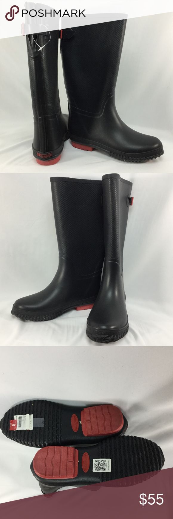 NWOB Rain Boots w/ Micro Fleece Lining Back Buckle Keep your feet warm and dry through the rain and snow this season! All Black Boot w Red Buckle Accent   NWOB - New without Box - Tag fell off and taped back on to the bottom of the shoe on the left shoe ~ Manufacturer tag still on the bottom right  All natural rubber boot with micro fleece lining Tretorn Shoes Winter & Rain Boots