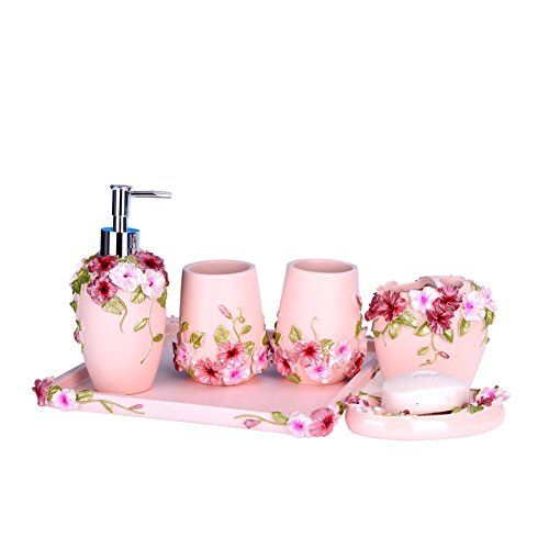 YOURNELO Modern Rustic Pink Bathroom Accessories sets