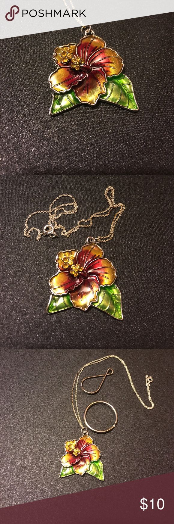 "NWOT - Gorgeous Flower 🌺Necklace NWOT - Gorgeous, colorful flower necklace. 18"" silver chain. Entire flower & leaf circumference is approximately 1 5/8"". Includes two different key chain / handbag charm loops to convert if preferred. Smoke free home. Lowest price on this item. Best price/value in bundles - I offer 15% off for 3+ items. Thanks for looking! Jewelry Necklaces"