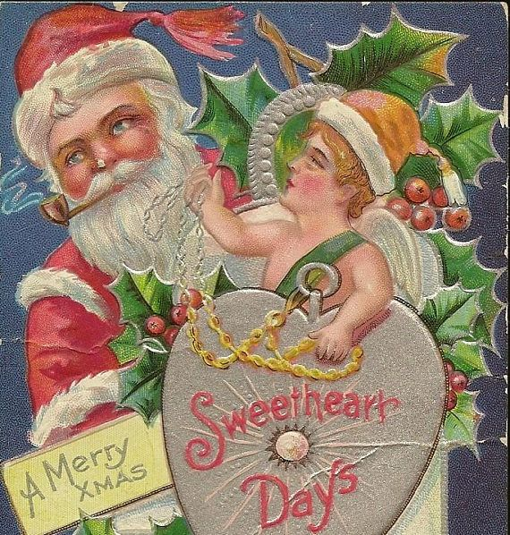 Embossed Antique Christmas Postcard Sweetheart Days from TheOldBarnDoor on etsy