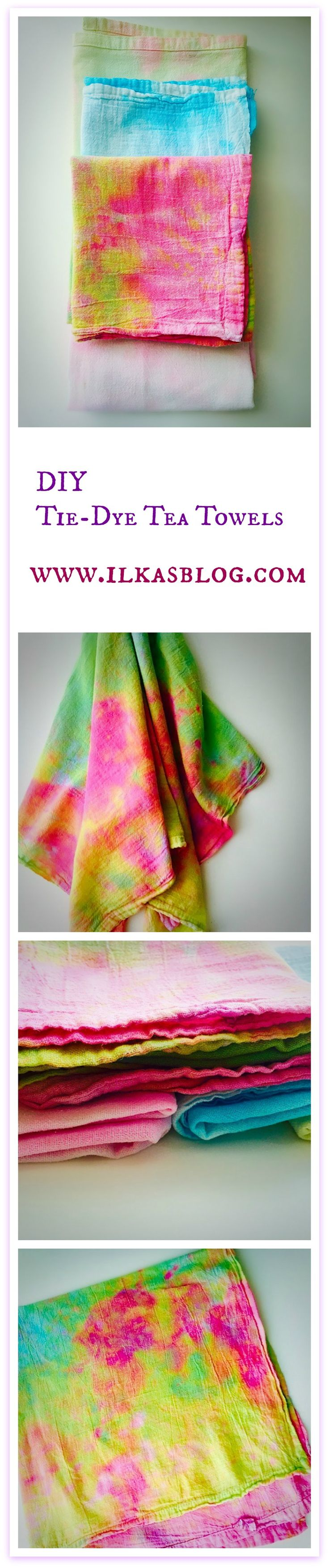 DIY Tie-Dye Tea Towels - a simple and easy fun and creative craft projects using…