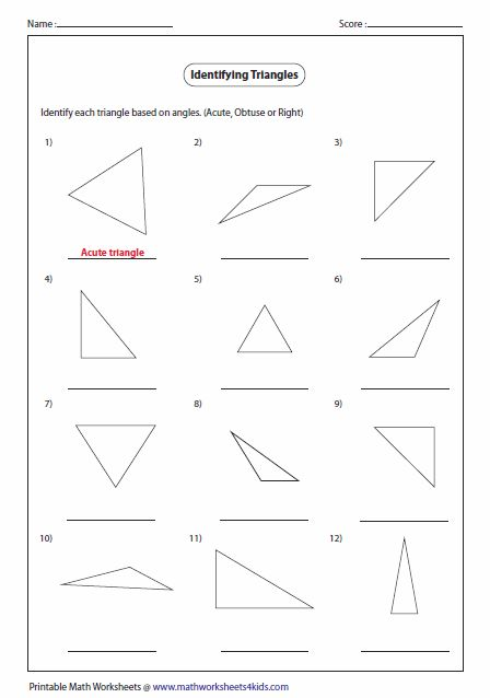 Triangle Classification Based On Angles Math Pinterest