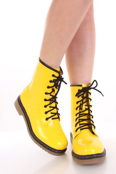Yellow Neon Faux Patent Leather Lace Up Tie Ankle Flat Combat Boots / Sexy Clubwear | Party Dresses | Sexy Shoes | Womens Shoes and Clothing | AMI CLubwear