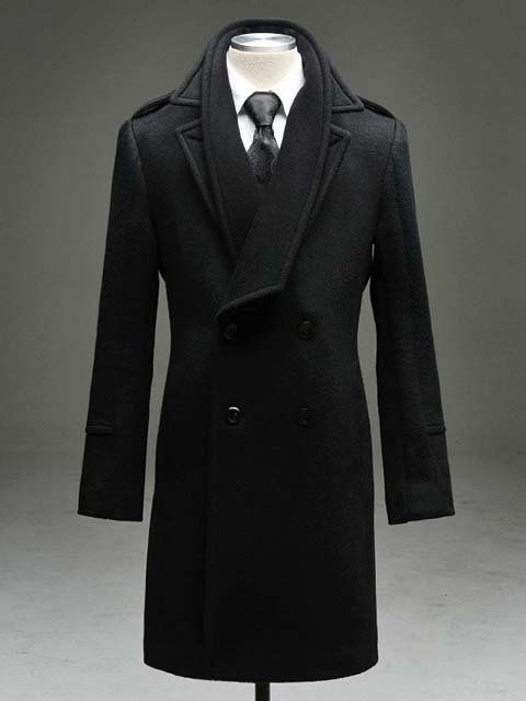 Black Double Breasted Trench Coat with separate Interior Collar