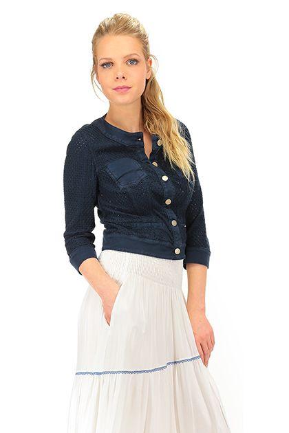 Kocca - Giacche - Abbigliamento - Giacca in cotone con collo alla coreana ed abbottonatura a vista. taschini applicati e inserti in cotone ltraforato. La nostra modella indossa la taglia /EU XS. - 72274 - € 132.00