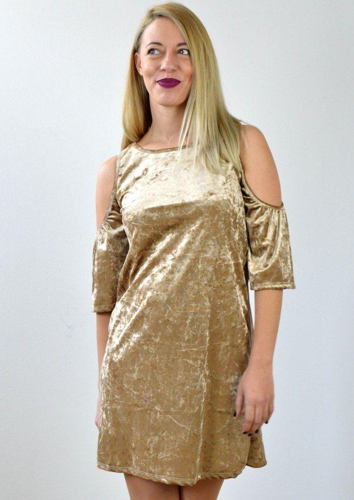 Φόρεμα Βελούδο με Ανοίγματα στους Ώμους - ΜΠΕΖ   shop online:www.musitsa.com