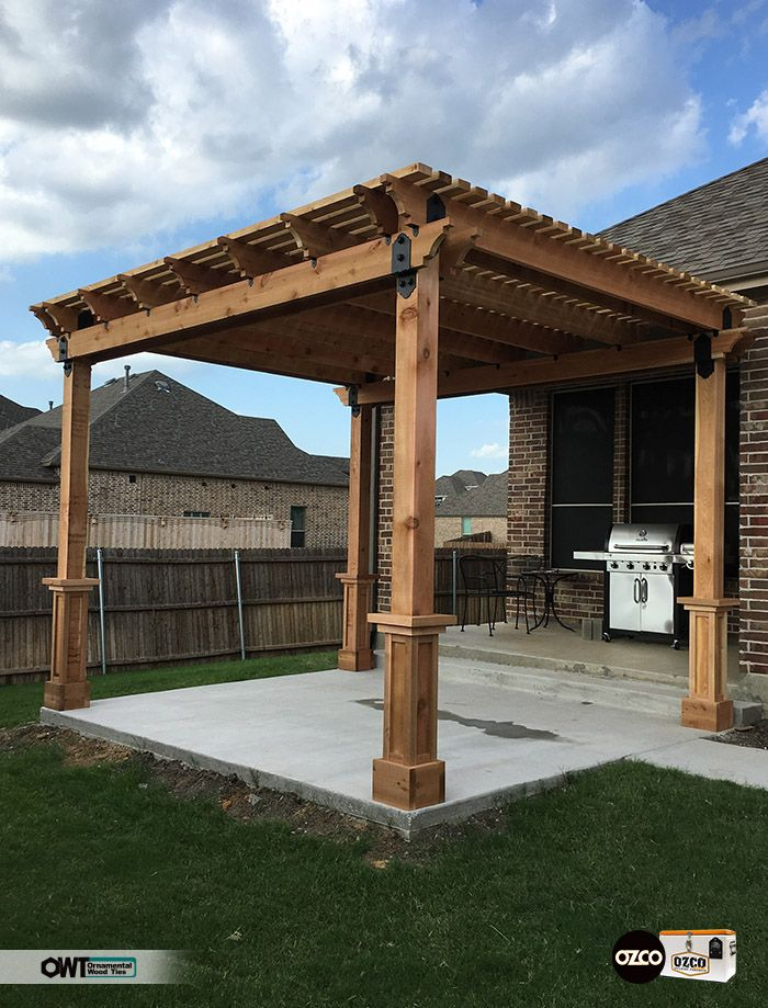 Pergola on a new concrete patio which looks like a great area for hamburgers and hotdogs!  Great looking work using OWT Hardware Post to Beam connectors.  Week 8 Finalist in OZCO's Cooler Contest.  Good Luck Sachse, TX!