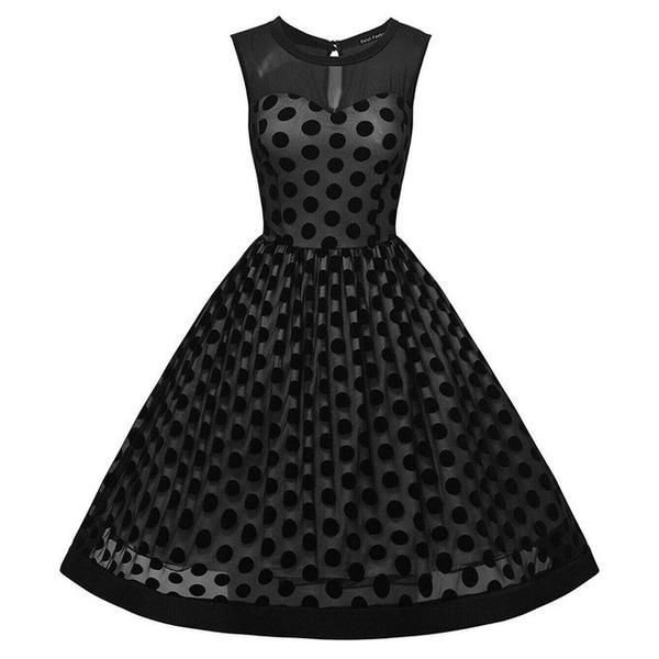 Polka Dot Elegant Summer Sleeveless Party Dress