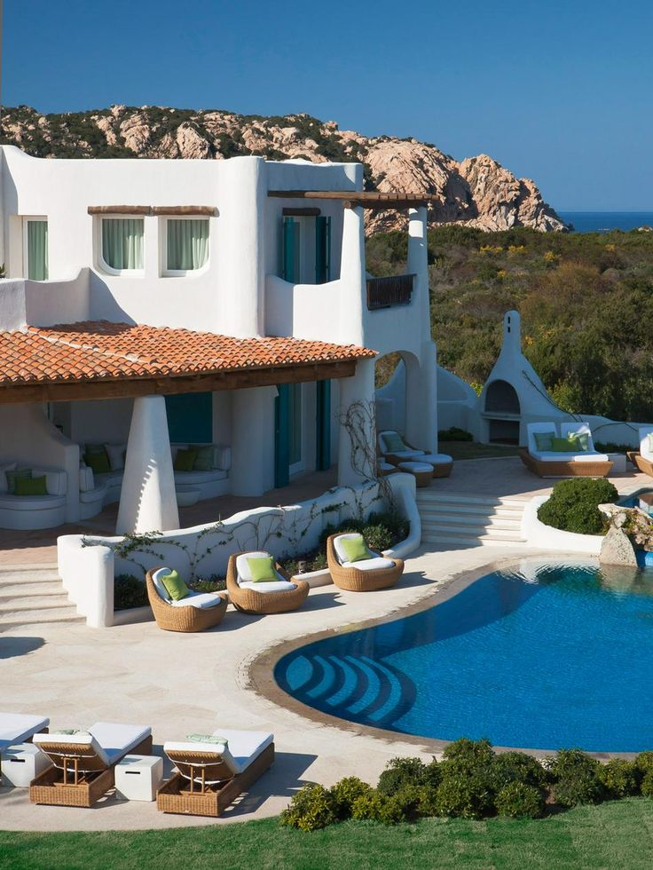 Hotel Romazzino sits on a private stretch of sandy beach in Costa Smeralda, Sardinia, Italy.