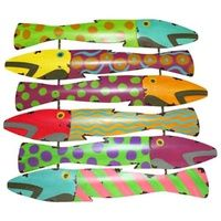Set of 2 Colourful Fish Metal Garden Wall Art