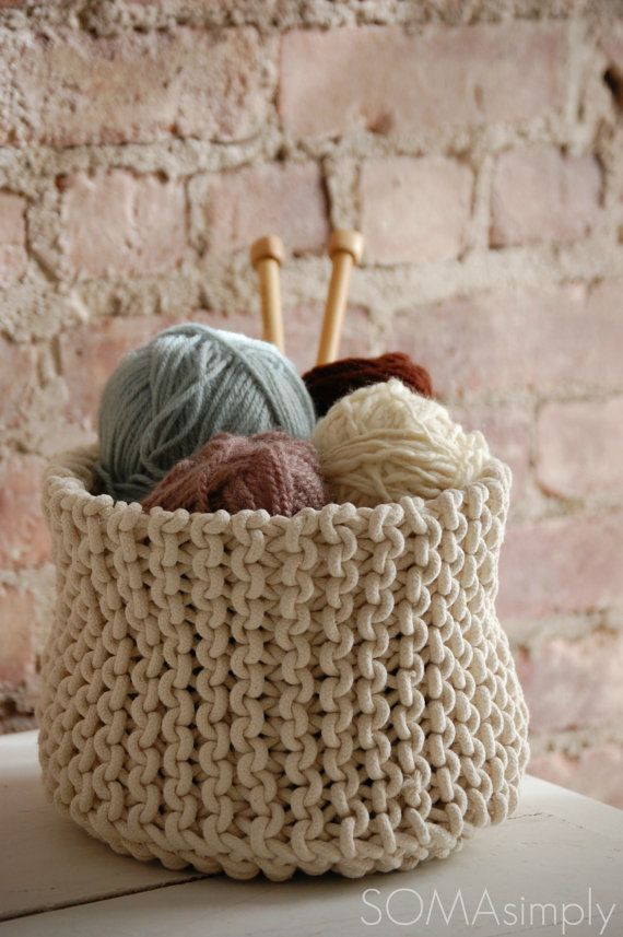 knitted basket  I think Megalo Wool Pink would be a great option for the yarn.