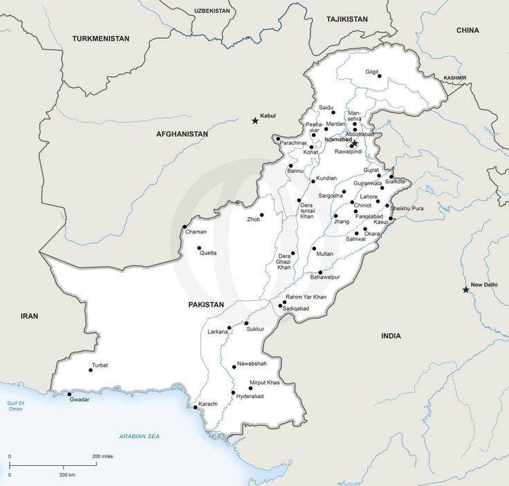 Pakistan political map - Download printable political vector maps