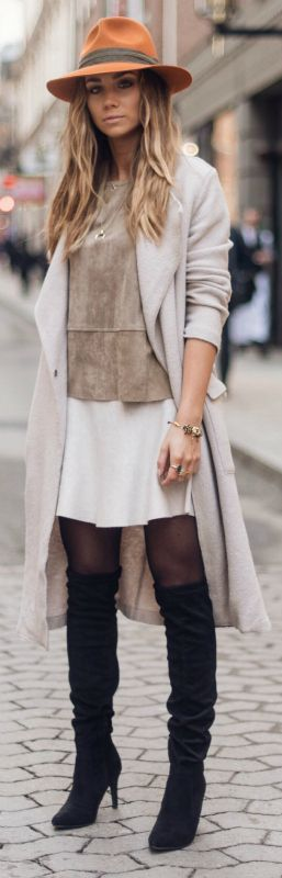 Lisa Olsson + thigh high boots + cute white skirt + earthy toned suede top + statement fedora Top: Neo Noir. Skirt: Gina Tricot, Shoes: Din sko, Coat: Filippa K.