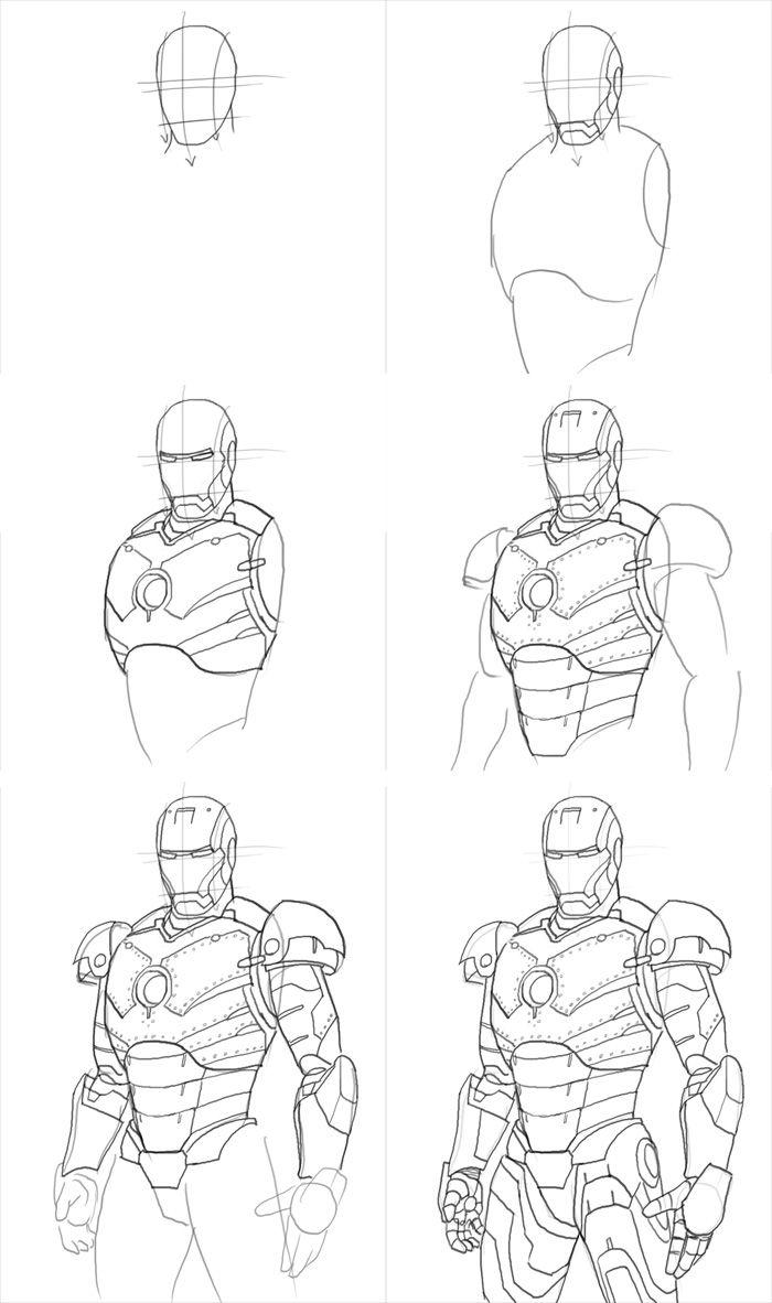 железный человек рисунок карандашом поэтапно нет