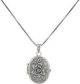 "Or Paz Sterling Silver Rose Oval Locket with 18"" Chain #SterlingSilverRoses"