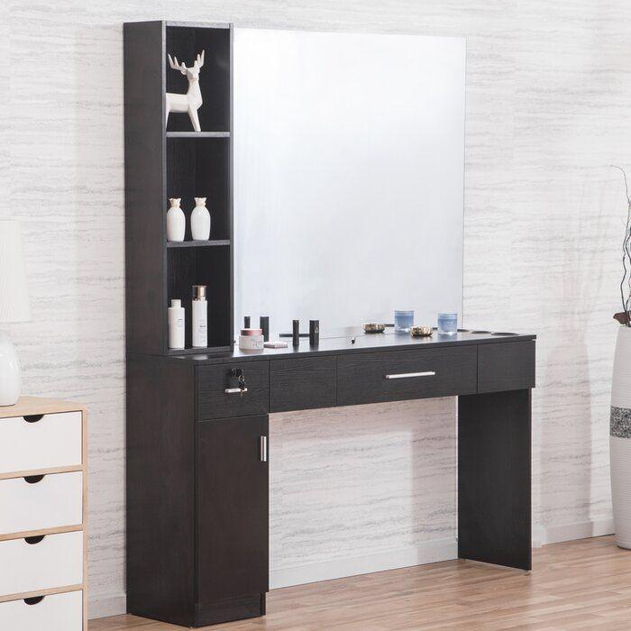 Shumake 2 Drawer Combo Dresser With Mirror In 2020 Dresser With Mirror Vanity Set With Mirror Bedroom Makeup Vanity